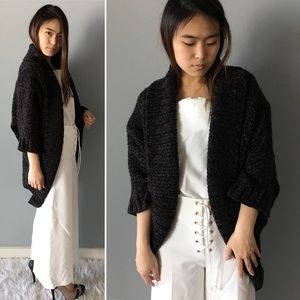 Express Chunky Black and Brown Sweater Cardigan